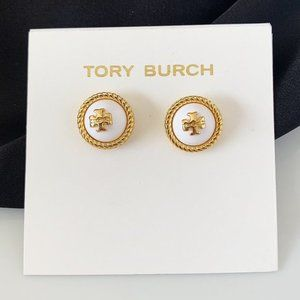 Tory Burch logo white earrings